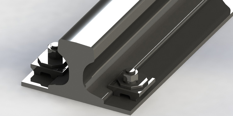 through-bolted rail clips
